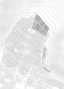 Fondo vectorial con la geometria de los barrios y la topografía de los cerros